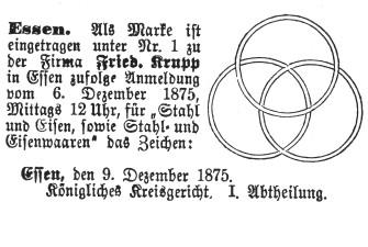Drei übereinandergelegte nahtlose Eisenbahnradreifen läßt Alfred Krupp 1875 als Markenzeichen des Unternehmens eintragen.