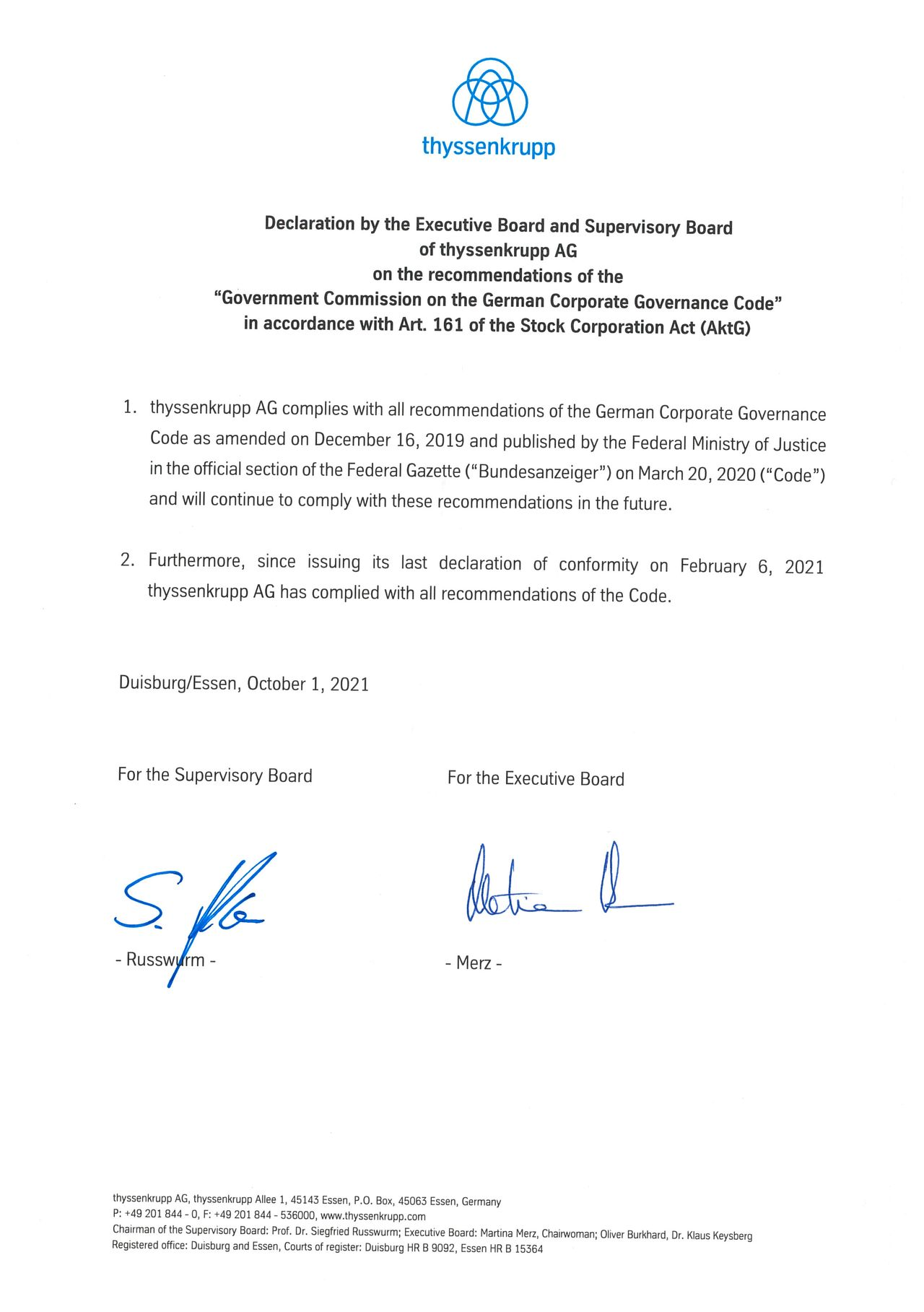 Declaration of conformity thyssenkrupp as of October 1, 2021