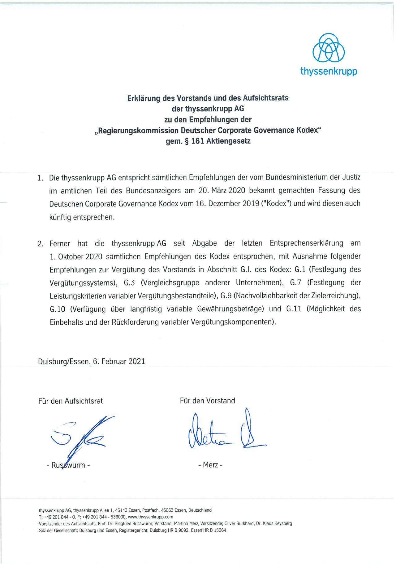 Entsprechenserklärung vom 6. Februar 2021
